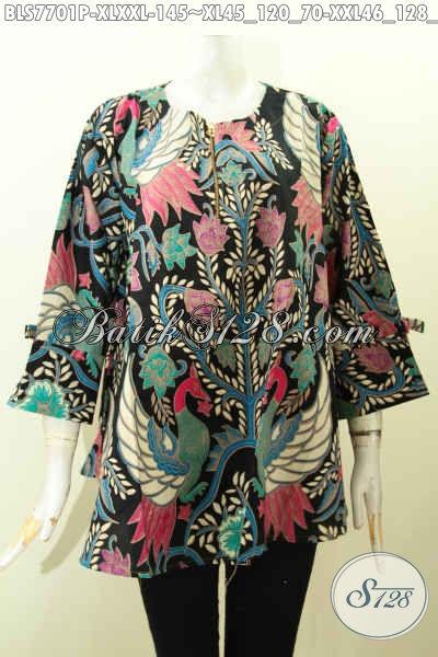 Jual Online Baju Blus Modern, Pakaian Batik Wanita Masa Kini Untuk Tampil Beda Dan Gaya, Bahan Adem Motif Bagus Model Kekinian Harga 100 Ribuan [BLS7701P-XXL]