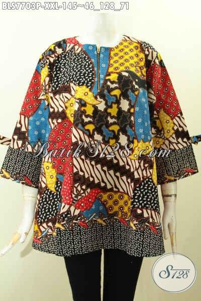 Sedia Baju Batik Modis Online, Pakaian Batik Blus Resleting Depan Pakai Pita Kwalitas Istimewa Proses Printing, Spesial Untuk Wanita Gemuk [BLS7703P-XXL]