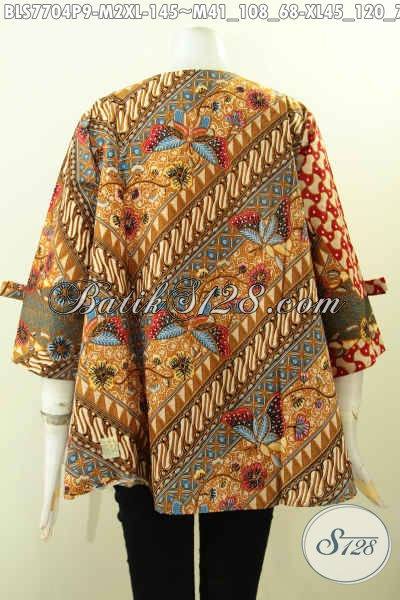 Sedia Baju Batik Wanita Model Pita Lengan Dan Resleting Depan, Blus Batik Elegan Motif Klasik Bahan Adem, Pas Buat Seragam Kerja, Size M – XL