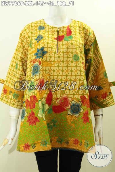 Baju Batik Big Size Wanita, Blus Batik Wanita Gemuk Model Pita Dengan Resleting Depan, Modis Untuk Santai Dan Resmi [BLS7706P-XXL]