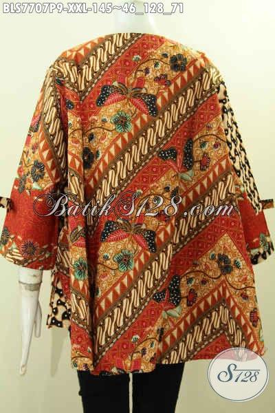 Toko Online Busana Batik Solo, Sedia Blus Jumbo Bahan Batik Printing Motif Keren, Hadir Dengan Model Pita Dan Resleting Depan Harga 145K [BLS7707P-XXL]