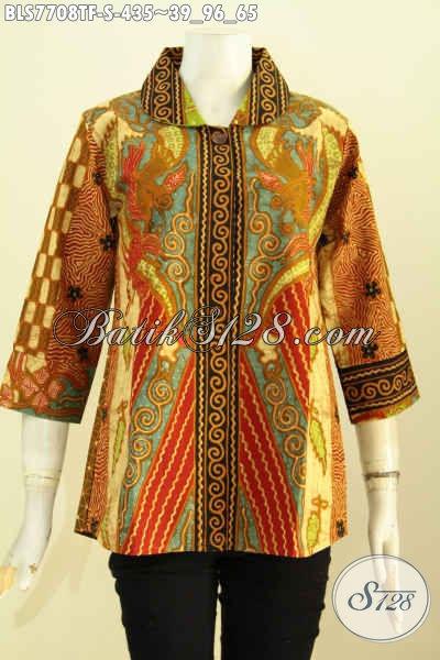 Baju Atasan Batik Wanita Terbaru, Busana Batik Istimewa Desain Elegan Motif Sinaran Proses Tulis Daleman Full Tricot Harga 400 Ribuan [BLS7708TF-S]