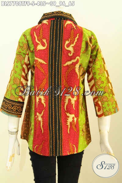 Batik Blus Klasik Elegan Dan Mewah, Baju Batik Tulis Full Tricot Desain Terbaru, Pas Banget Untuk Acara Resmi, Size S