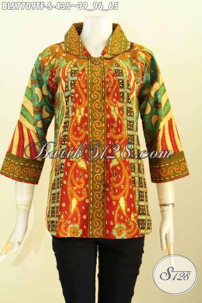 Baju Atasn Wanita Bahan Batik Tulis Motif Klasik Sinaran, Pakaian Batik Istimewa Full Tricot Model Terbaru, Tampil Cantik Dan Anggun [BLS7709TF-S]