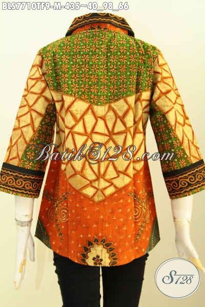 Baju Batik Kerja Motif Sinaran, Blus Batik Premium Wanita Karir Daleman Full Tricot, Pakaian Batik Tulis Solo Mewah Harga 400 Ribuan, Size M