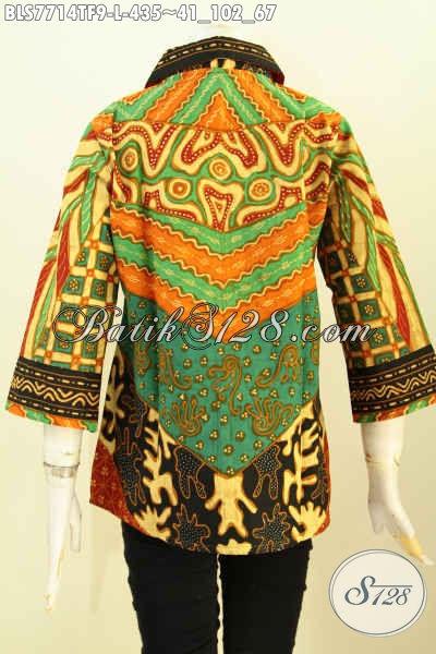 Blus Batik Wanita Masa Kini, Busana Batik Klasik Mewah Bahan Adem Motif Sinaran Proses Tulis Asli Hanya 400 Ribuan, Size L