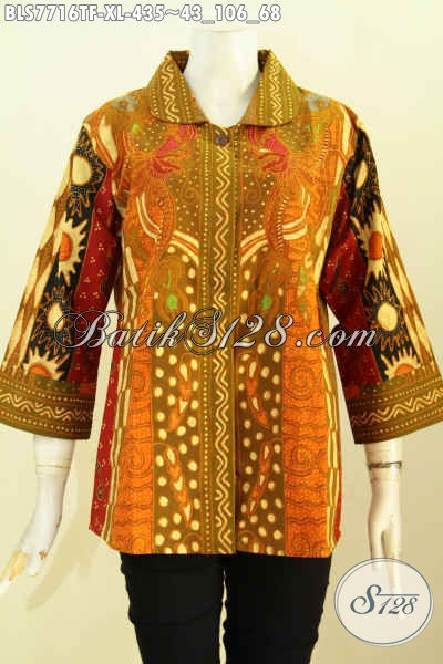 Blus Batik Wanita Dewasa Full Tricot, Busana Batik Kerja Kantoran Nan Mewah Motif Klasik Harga 435K, Size XL