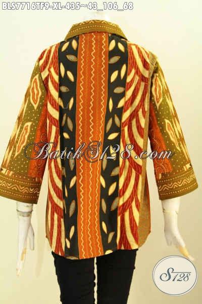 Pakaian Batik Wanita Dewasa, Blus Batik Klasik Elegan Cocok Untuk Kerja Dan Acara Resmi Bahan Adem Motif Sinaran Daleman Full Tricot Hanya 435K [BLS7716TF-XL]