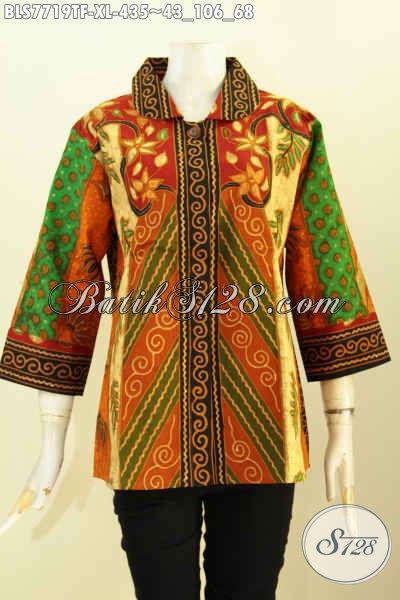 Baju Batik Kerja Wanita Dewasa, Blus Batik Solo ELegan Berkelas Motif Klasi Desain Mewah Daleman Full Tricot 435 Ribu Saja, Size XL