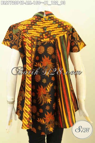 Blus Batik Lengan Pendek Klasik Motif Sinaran, Baju Batik Printing Elegan Desain Kekinian Bikin Penampilan Lebih Gaya [BLS7720PC-All Size]