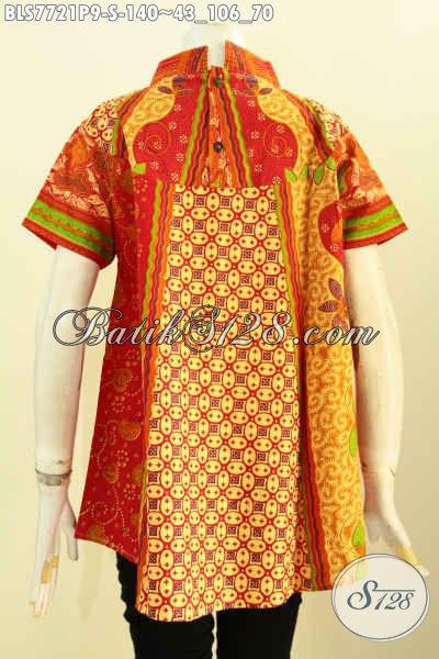 Batik Blus Lengan Pendek Klasik Motif Sinaran Proses Printing, Busana Batik Jawa Terbaru Untuk Wanita Muda Harga 140K, Size S