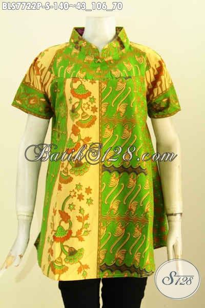 Blus Batik Hijau Nan Mewah, Pakaian Batik Modis Desain Terkini Yang Bikin Wanita Telihat Cantik Mempesona Hanya 140 Ribu [BLS7722P-S]