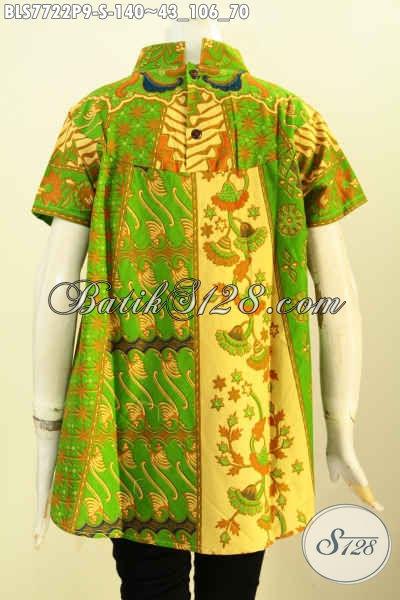 Batik Blus Hijau Mewah Model Kekinian, Pakaian Batik Printing Motif Sinaran Harga 100 Ribuan, Size S