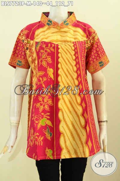 Jual Baju Batik Printing Solo, Blus Batik Elegan Lengan Pendek Bahan Halus Motif Klasik Untuk Penampilan Lebih Berkelas [BLS7723P-M]