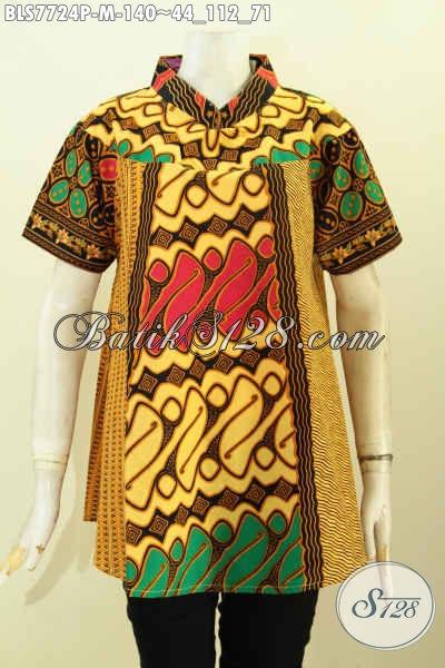 Batik Blus Klasik Nan Istimewa, Pakaian Batik Seragam Kerja Modern Wanita Karir Kwalitas Istimewa Hanya 140K, Size M