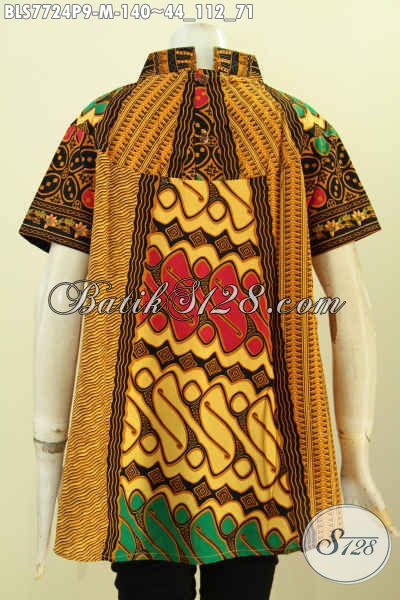 Sedia Baju Batik Santai Wanita, Blus Modern Motif Klasiik Warna Berkelas, Pas Banget Untuk Jalan-Jalan, Size M