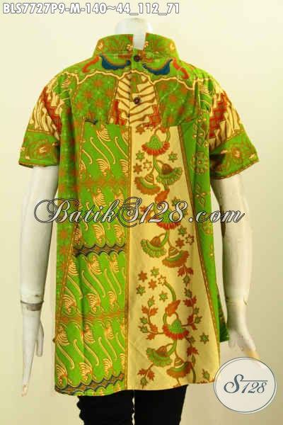 Batik Blus Klasik Warna Hijau, Baju Batik Printing Elegan Desain Keren Bahan Halus Kwalitas Istimewa Hanya 100 Ribuan [BLS7727P-M]
