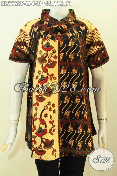 Blus Batik ELegan Desain Keren, Baju Batik Jawa Etnik Proses Printing Bahan Adem Dan Tidak Luntur Hanya 100 Ribuan, Size M