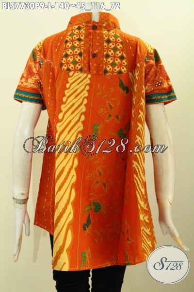 Blus Batik Kombinasi Desain Kekinian Yang Modis Dan Keren, Baju Batik Solo Halus Untuk Kerja Kantoran Tampil Gaya, Size L
