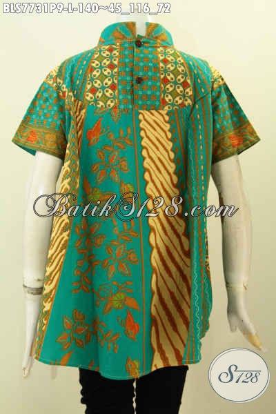 Blus Batik Klasik Motif Kombinasi, Baju Batik Kerja Wanita Karir Untuk Tampil Gaya Kwalitas Bagus Hanya 140K, Size L