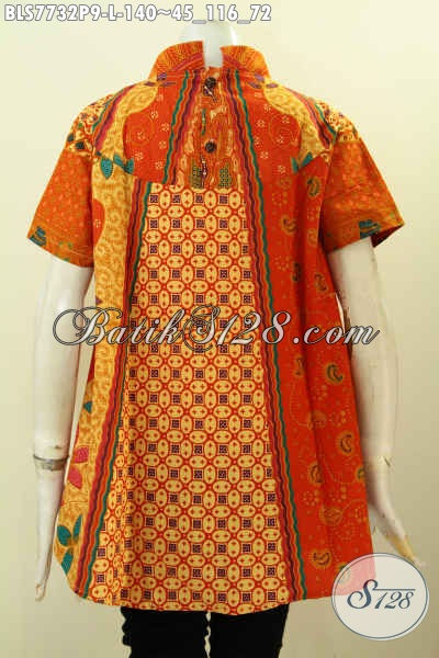 Jual Online Blus Batik Oranye, Busana Batik Elegan Motif Sinaran Proses Printing Kwalitas Istimewa Hanya 140 Ribu, Size L