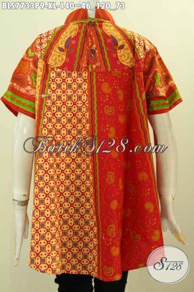 Baju Batik Wanita Kombinasi, Blus Kerja Untuk Perempuan Dewasa, Pakaian Batik Klasik Elegan Proses Printing Penampilan Anggun Dan Menawan [BLS7733P-XL]
