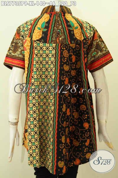Baju Batik Wanita Size XL, Blus Batik Klasik Solo Proses Printing Harga 100 Ribuan Cocok Untuk Acara Resmi