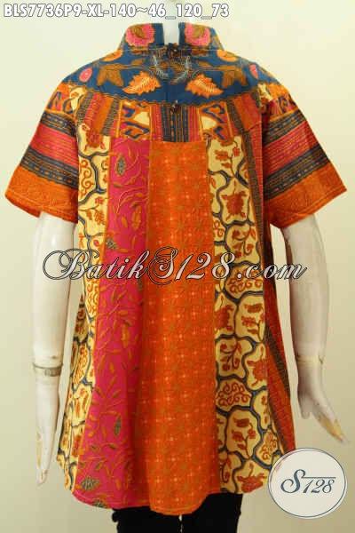 Jual Eceran Harga Grosir Blus Batik Klasik Motif Sinaran, Baju Batik Printing Istimewa Bikin Penampilan Cantik Mempesona, Size XL