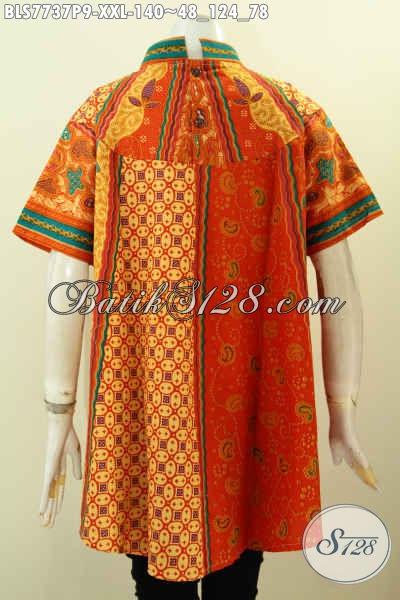 Blus Batik Big Size, Pakaian Batik Mewah Harga Terjangkau Desain Terbaru Motif Sinaran Printing, Di Jual Online 140K, Size XXL