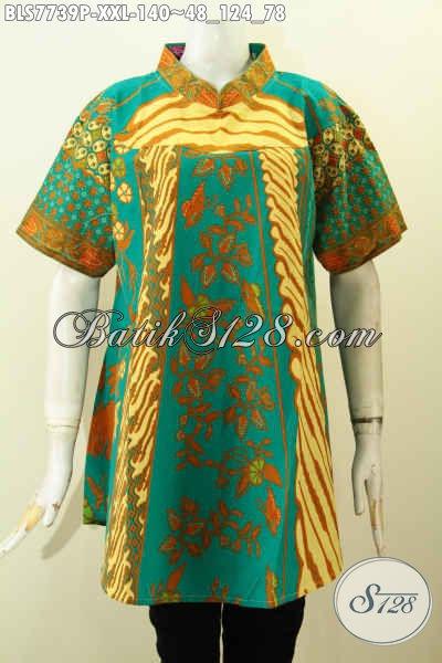 Blus Batik Klasik Kombinasi, Baju Batik Big Size Nan Mewah Harga Murah Proses Printing, Asli Buatan Solo, Spesial Untuk Wanita Gemuk [BLS7739P-XXL]