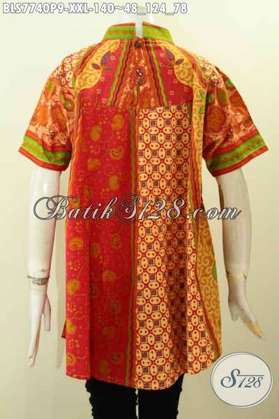 Koleksi Terbaru Blus Batik Solo Spesial Untuk Wanita Gemuk, Baju Batik Jawa Etnik Motif Sinaran Bahan Adem Nyaman Di Pakai, Size XXL