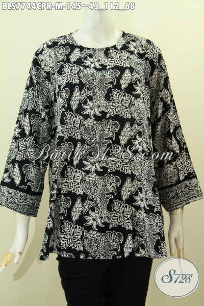 Jual Pakaian Batik Santai Untuk Wanita, Baju Atasan Batik Cewek Bahan Jatuh Paris Model Tanpa Krah, Pas Buat Jalan-Jalan, Size M