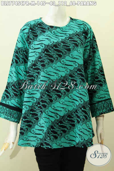 Blus Batik Solo Bahan Jatuh Paris Kwalitas Halus Motif Klasik Proses Cap, Bisa Buat Ke Kantor Dan Ke Mall, Size M