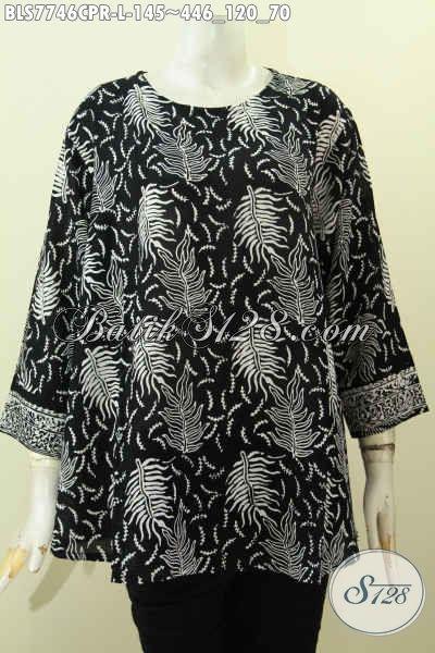 Blus Batik Trendy, Baju Batik Bahan Jatuh Paris Hadir Dengan Dengan Desain Keren Kwalitas Bagus Proses Cap Harga 100 Ribuan Saja [BLS7746CPR-L]
