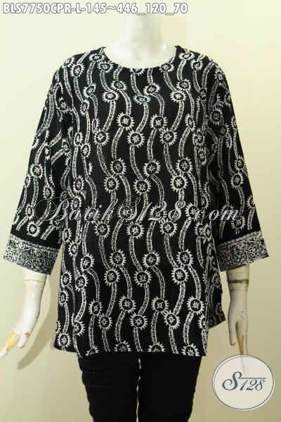 Produk Pakaian Batik Wanita Terbaru Yang Bikin Penampilan Lebih Gaya Dan Mempesona, Bahan Jatuh Paris Kwalitas Istimewa Proses Cap Motif Unik Harga 145K [BLS7750CPR-L]