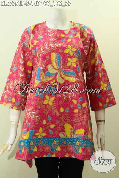 Jual Online Baju Batik Blus Istimewa, Pakaian Batik Jawa Terkini Buatan Solo Motif Bunga Proses Printing Harga 100 Ribuan, Size S