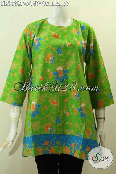 Baju Batik Trendy Warna Hijau Motif Bunga, Blus Batik Solo Terbaru Yang Bikin Wanita Terlihat Cantik Dan Modis, Size S