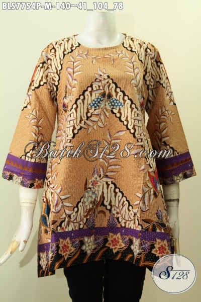 Baju Batik ELegan Terkini, Blus Batik Wanita Tanpa Krah Desain Modern Bahan Halus Proses Printing Hanya 140 Ribu [BLS7754P-M]