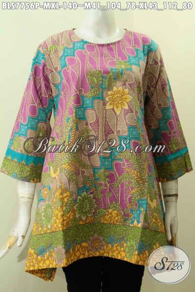 Agen Baju Batik Wanita Online, Sedia Aneka Blus Batik Solo Tanpa Krah Untuk Wanita Muda Dan Dewasa Tampil Gaya, Size M – XL