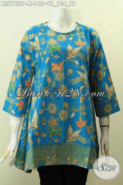 Toko Pakaian Batik Online Jawa Tengah, Produk Baju Batik Solo Masa Kini Kwalitas Bagus Bahan Adem Motif Unik Warna Biru, Tampil Lebih Bergaya [BLS7758P-M]