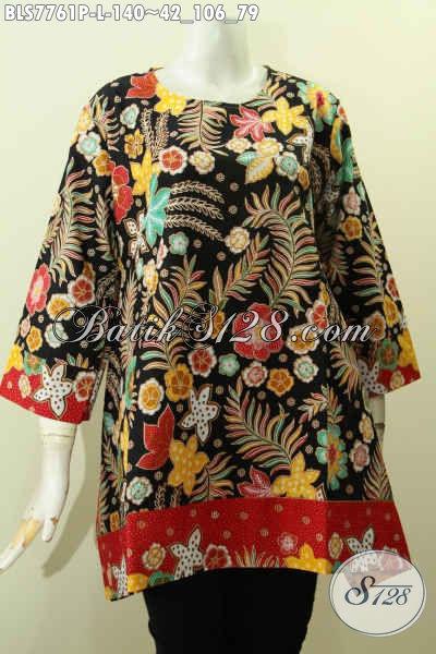 Blus Batik Wanita Muda Dan Dewasa Motif Bunga-Bunga, Baju Batik Printing Keren Model Tanpa Krah, Cocok Buat Jalan-Jalan, Size L