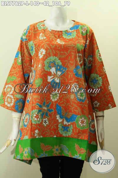 Baju Batik Kantor Wanita Muda, Blus Tanpa Krah Warna Oranget Motif Bunga Printing Bahan Adem Nyaman Di Pakai [BLS7762P-L]