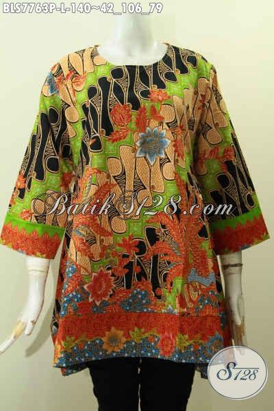 Baju Batik Wanita 2017, Blus Tanpa Krah Kwalitas Istimewa Untuk Tampil Keren Dan Gaya Hanya Dengan 100 Ribuan [BLS7763P-L]