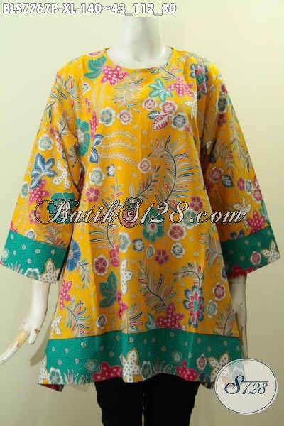 Blus Batik Kekinian Wanita Dewasa, Pakaian Batik Warna Kuning Kwalitas Bagus Proses Printing Motif Bunga, Tampil Cantik Mempesona [BLS7767P-XL]