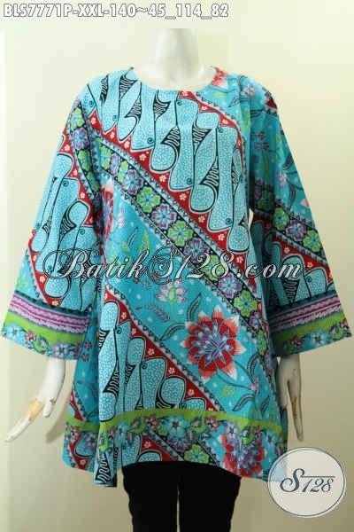 Jual Baju Batik Elegan Warna Cerah Motif Modern Klasik Big Size Proses Printing Model Tanpa Krah, Pas Untuk Kerja [BLS7771P-XXL]