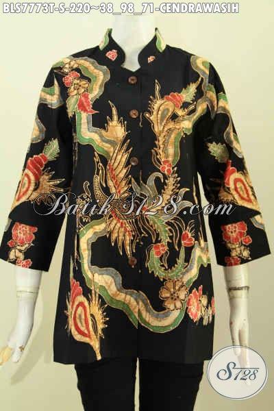 Batik Blus Premium Model Krah Shanghai, Baju Batik Tulis Motif Cendrawasih Kwalitas Bagus Harga 220K, Size S