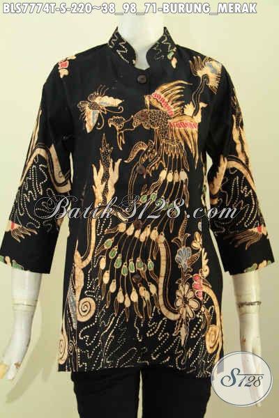 Baju Batik Wanita Kwalitas Premium, Pakaian Batik Krah Shanghai Bahan Adem Motif Merak Proses Tulis Harga 220K, Size S