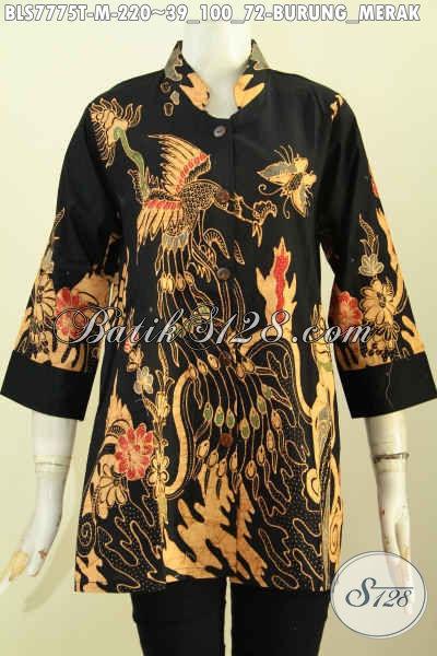 Jual Baju Batik Blus Kerja Wanita Karir, Produk Busana Batik Kerah Shanghai Istimewa Motif Burung Merah Proses Tulis, Penampilan Lebih Berkelas [BLS7775T-M]