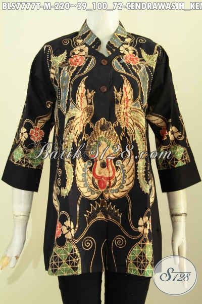 Baju Batik Wanita Modern Online, Blus Kerah Shanghai Motif Burung Cendrawasih Kembar Proses Tulis Kwalitas Istimewa, Cocok Buat Kerja Kantoran [BLS7777T-M]
