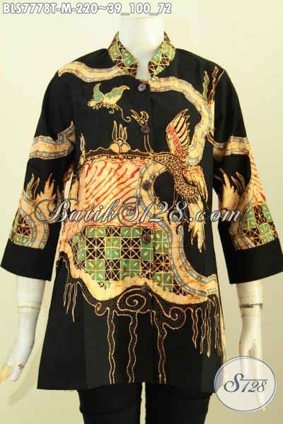 Pakaian Batik Wanita Muda, Hadir Dengan Desain Terkini Berpadu Motif Unik Proses Tulis Model Kerah Shanghai, Tampil Mempesona [BLS7778T-M]